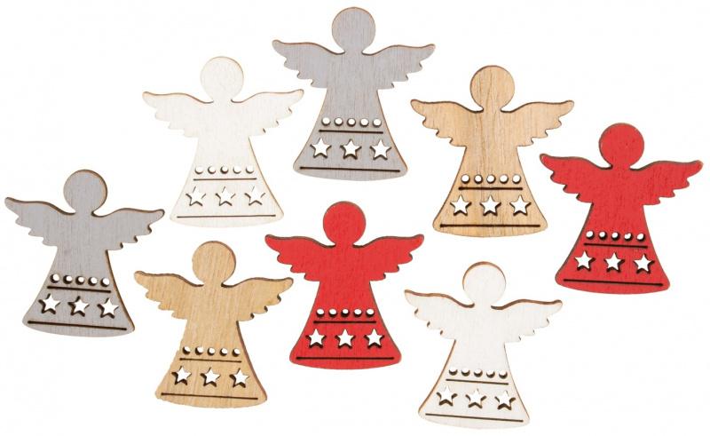 Anděl dřevěný 3,5 cm 8 ks