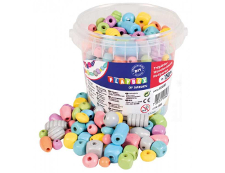Dřevěné korálky kbelík - pastelové 150 ks