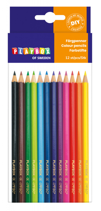 Barevné pastelky, 12 ks