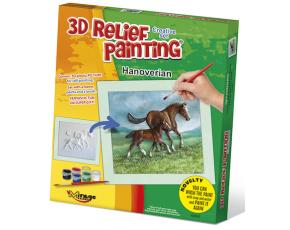 3D reliéfní obrázek 19x21cm Hannoverský kůň s hříbětem