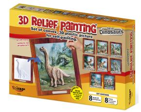 3D reliéfní obrázky  - 8 různých dinosaurů (19x21cm)