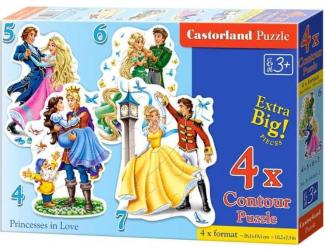 Puzzle Castorland sada 4v1 - Zamilované princezny -4,5,6 a 7 dílků- pro nejmenší děti
