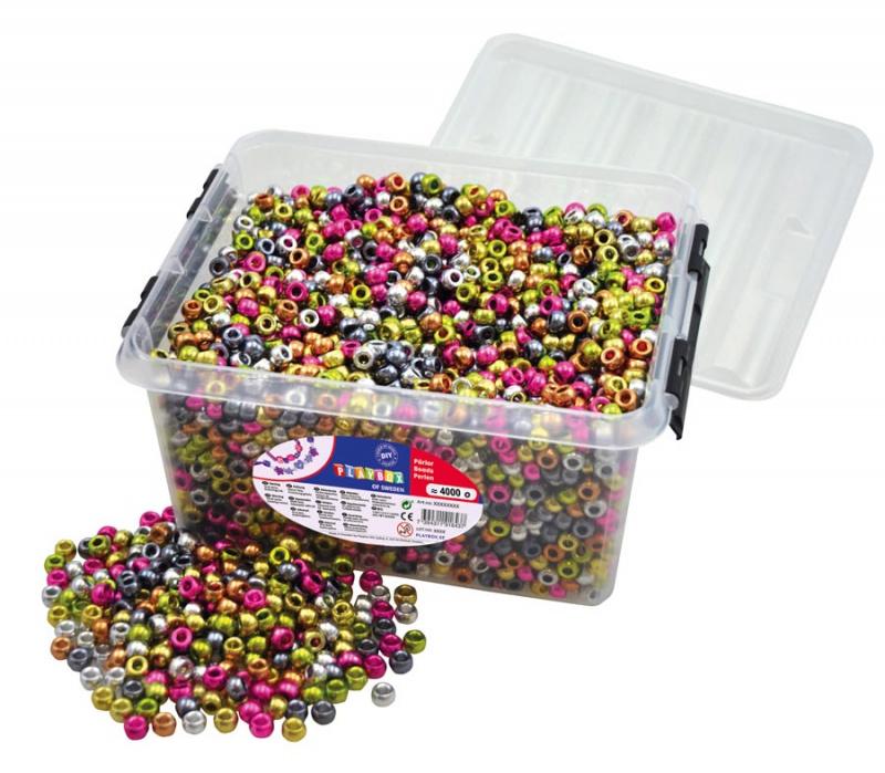 Korálky plastové v boxu 4000 ks - metalické