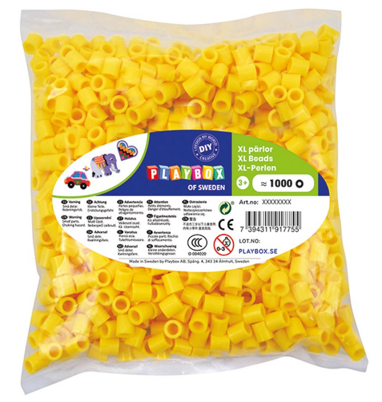 Korálky zažehlovací velké- maxi XL 1000 ks - žluté