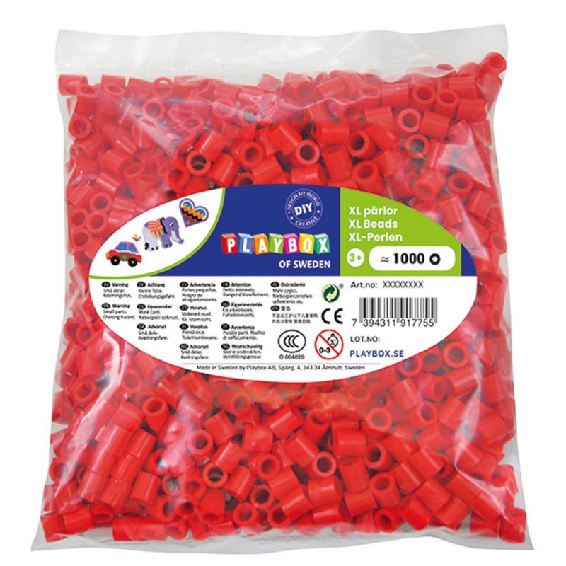 Korálky zažehlovací velké- maxi XL 1000 ks - červené