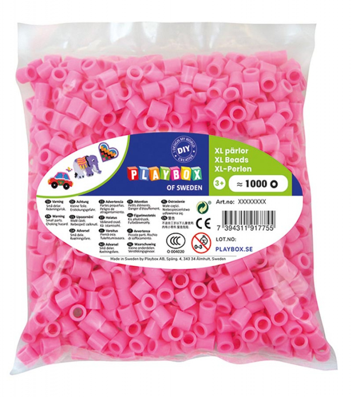 Korálky zažehlovací velké- maxi XL 1000 ks - růžové