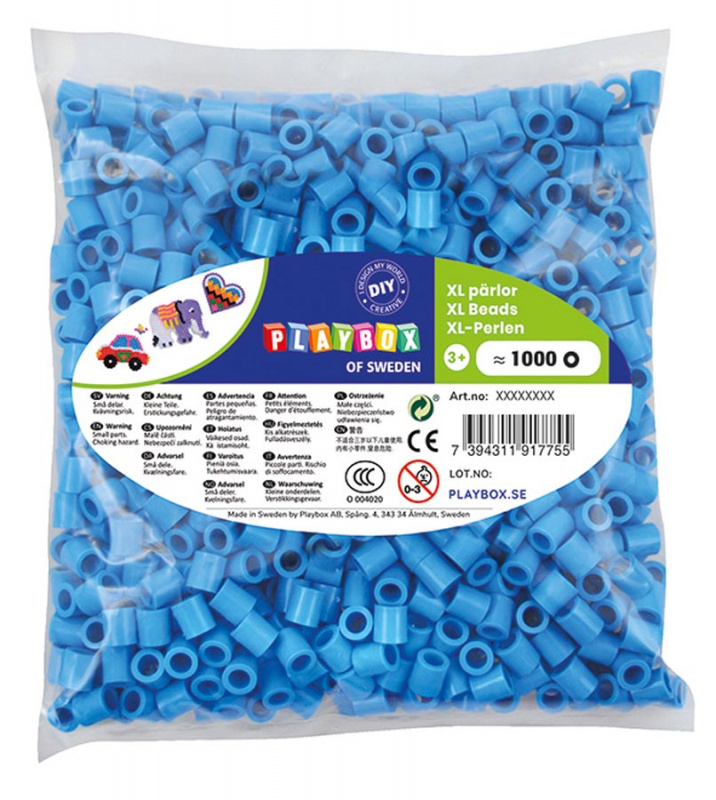 Korálky zažehlovací velké- maxi XL 1000 ks - modré