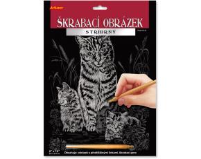 Škrabací obrázek stříbrný 20x25 cm - Kočka s koťaty