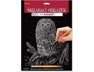 Škrabací obrázek stříbrný 20x25 cm - Sova
