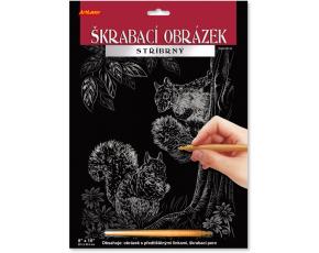 Škrabací obrázek stříbrný 20x25 cm - Dvě veverky