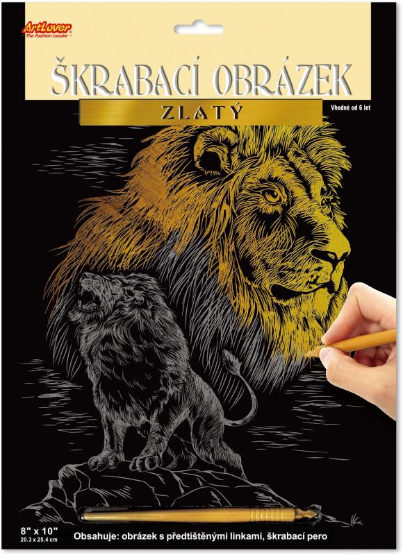 Škrabací obrázek zlatý - Lev
