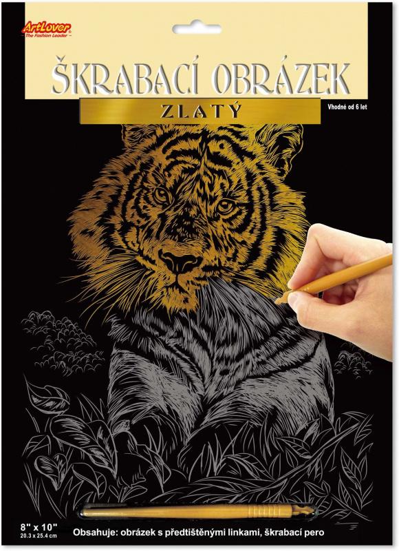 Škrabací obrázek zlatý - Tygr - SCC-EP300*tygr