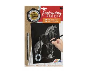 Škrabací obrázek stříbrný - kůň