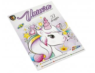 Omalovánky se třpytivými samolepkami-  unicorn