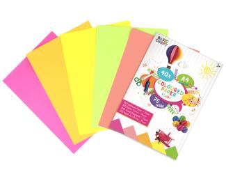 Barevné papíry A4- neonové, 40 listů, 75g/m2