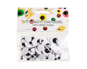 Oči s pohyblivou zorničkou - černobílé, 75 ks, 8, 10, 15, 20 mm