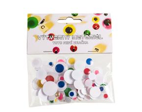 Pohyblivé barevné oči - 75 ks, 8, 10, 15, 20 mm