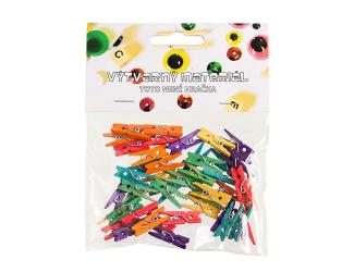 Kolíčky barevné, 45 ks - 25 x 3 mm