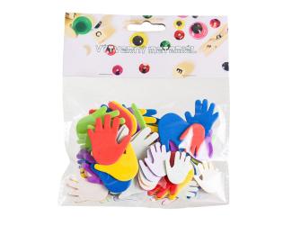 Pěnové ruce, samolepicí - mix barev a velikostí, 60 ks