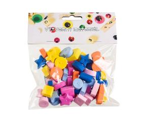 Korálky pěnové - mix tvarů a barev - 66 ks
