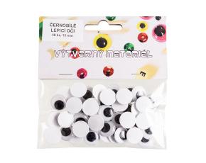 Černobílé oči lepicí s pohyblivou panenkou, 15 mm, 48 ks
