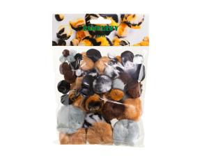 Bambulky - akrylové, zvířecí, 54 ks, mix velikostí