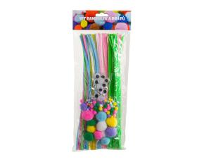 Sada bambulí, drátů a očí - pastelové barvy
