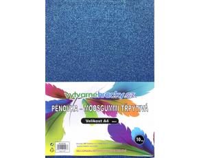 Třpytivá pěnovka - 10 ks, Modrá, A4 - cca 2 mm