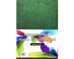 Třpytivá pěnovka - 10 ks, Zelená, A4 - cca 2 mm