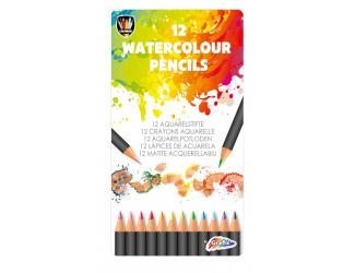 Akvarelové pastelky v kovovém boxu, 12 ks