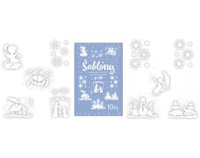 Šablony vánoční,10 motivů 31x21cm