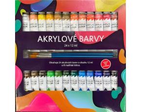 Akrylové barvy 24x12ml  3x štětec
