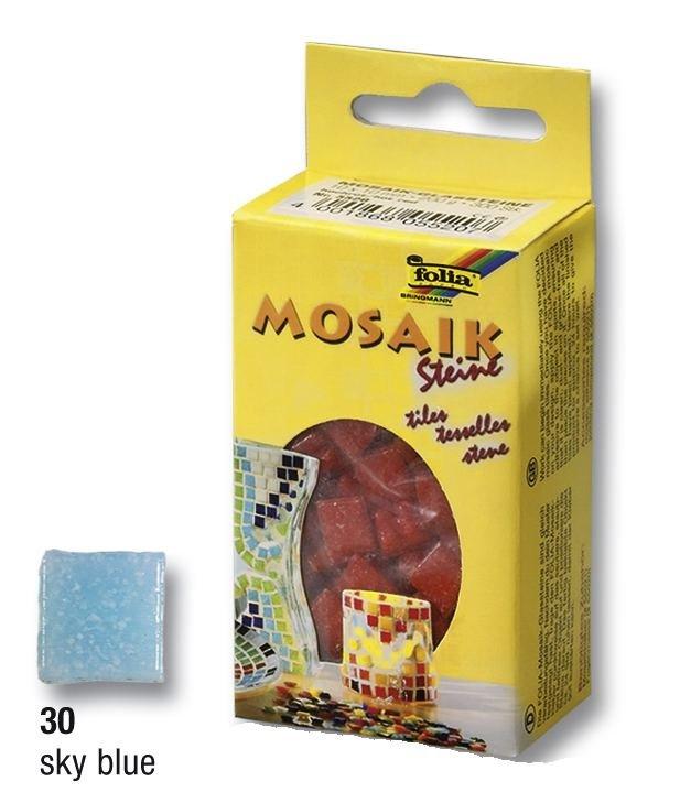 Modré světlé mozaikové kamínky 10x10mm, 300 ks, 200g