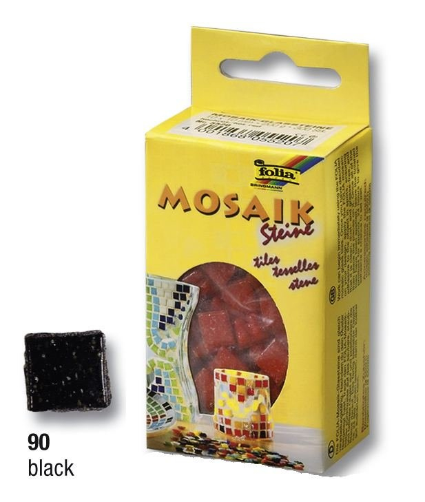 Černé mozaikové kamínky 10x10mm, 300 ks, 200g