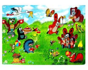 Puzzle krtek- 12 dílků - veselé narozeniny
