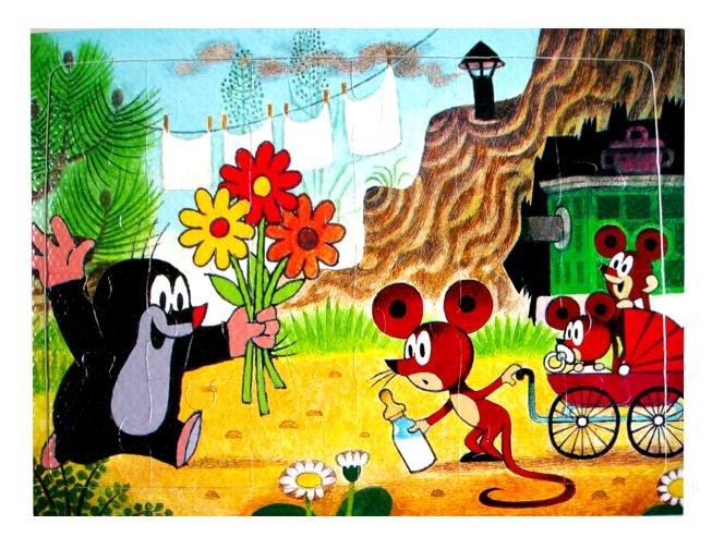 Puzzle krtek- 24 dílků - myšky