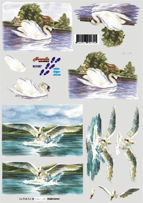 3D papíry pro vystřihování- Labutě