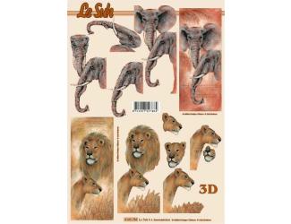 3D papíry pro vystřihování- Sloni a lvi