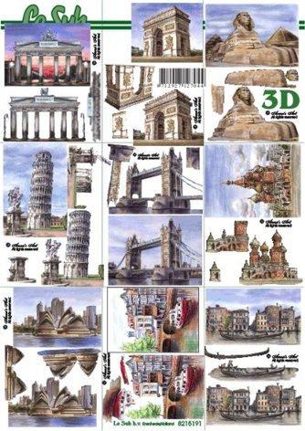 3D papíry pro vystřihování- Mix města 9 obrázků mini