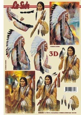 3D papíry pro vystřihování- Indiáni