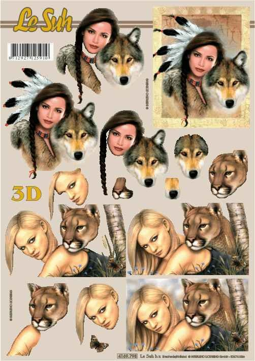 3D papíry pro vystřihování- Ženy s vlkem a pumou