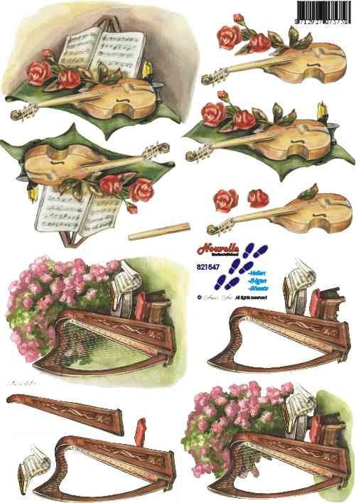 3D papíry pro vystřihování- Housle a harfa
