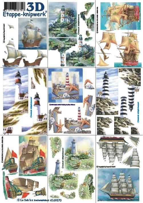 3D papíry pro vystřihování- Mix krajina, 9 obrázků mini