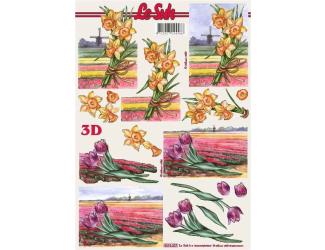 3D papíry pro vystřihování- Narcisy a tulipány