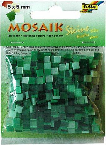 Mozaika pryskyřicová 5x5mm- zelený mix