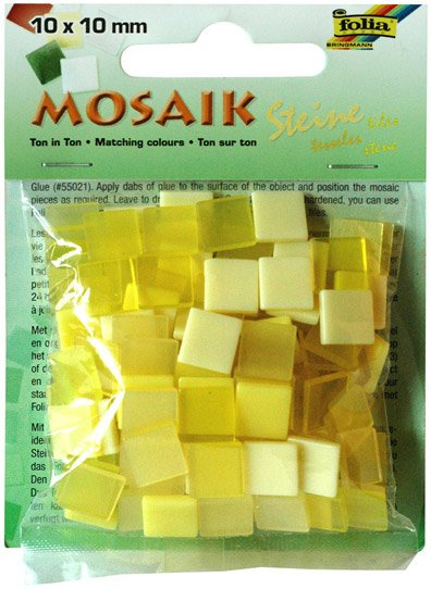 Mozaika pryskyřicová 10x10mm- žlutý mix