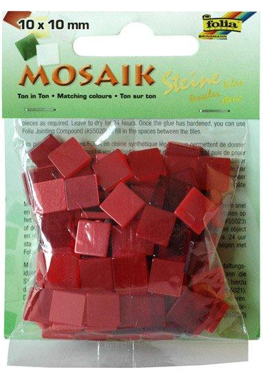 Mozaika pryskyřicová 10x10mm- červený mix
