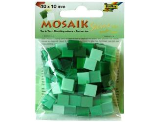 Mozaika pryskyřicová 10x10mm- zelený mix
