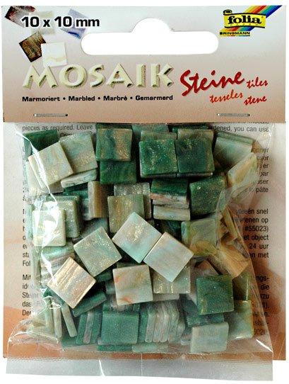 Mozaika pryskyřicová 10x10mm- zelený mramor