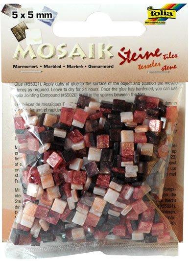 Mozaika pryskyřicová 5x5mm- červený mramor